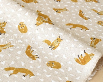 Japanese Fabric - Foxes canvas - natural - 50cm