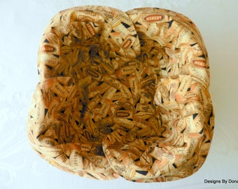 Basket Liner, Bread Cloth, Table Topper, Centerpiece, Wine Bottle Corks, Handmade Table Linens