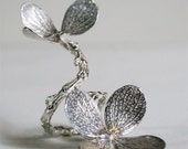 Gorgeous Double Flower branch ring in sterling silver Adjustable by zulasurfing great  for