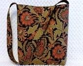 Jacobean Purse Hobo Shoulder Bag Hobo bag Purse Shabby Floral Fabric Handbag Ladies Pocketbook Olive Green Rust Red Gift Under 50 For Her