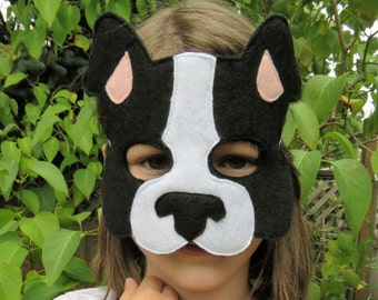 Dog Mask - Puppy Mask - Animal Mask - Felt Mask - Pretend Play - Dress Up - Boston Terrier