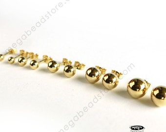 14K Gold 3mm 4mm 5mm 6mm 7mm Ball Stud Earrings Solid Real Gold Post 14KG15- 1 Pair