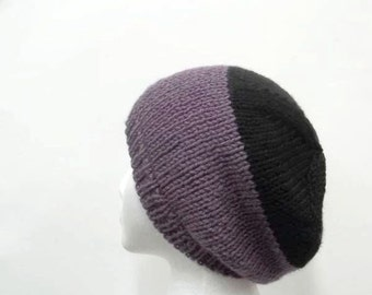 Knitted black and purple beanie hat    5024