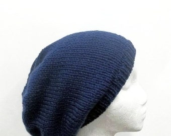 Blue knit slouchy hat, oversized beanie  4920