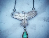 Folk Feather Necklace, Sterling Silver, Turquoise