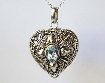 Light Sky Blue Topaz Sterling silver heart locket keepsake pendant Chain Necklace PL14