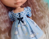 SALE - Dress for Blythe - Find the Narwhal - Blue