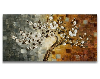 PRINT on Canvas Cherry Blossom Tree, Fine Art  Home Decor Large Wall Art Modern Abstract White Flowers Earthy Grey Brown Rust-Susanna