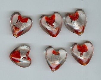 20mm Red and Silver Heart Beads Set 6 - 0118