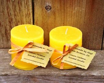 Pair of Lemon Verbena Scented Tiny Round Pillar Candles