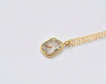 14k Gold Diamond Slice Necklace Gold and Diamond Pendant