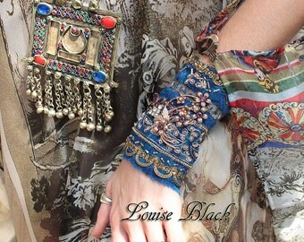 Arabian Nights Moroccan Silk Metallic Embroidered Belly Dance Cuff Bracelet by Louise Black