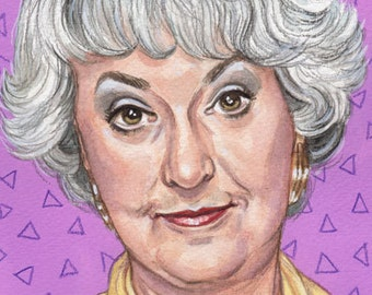 Original Watercolor Painting Portrait Art Bea Arthur Dorothy Golden Girls 5 x 7 Inches