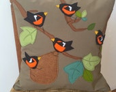 Baltimore Orioles family felt applique pillow
