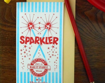 letterpress birthday greetings sparkler greeting card red white & blue department of wishes
