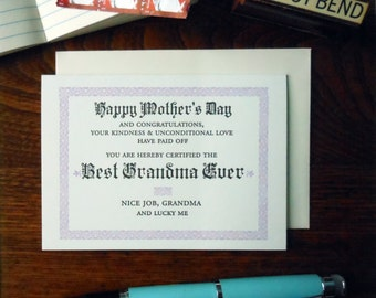 letterpress happy mother's day best grandma ever certificate greeting card  pink & black ink