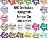FIMO Professional Spring 2016 Polymer Clay Color Recipe Ebook