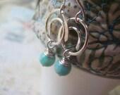 Aqua Opal Earrings, Peruvian Amazonite, Sterling Silver, Gemstone Amazonite, Amazonite Earrings, Gemstone Earrings, Handformed Swirls