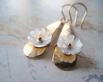 Flower Earrings, MOP Flowers, Natural White, Gold Jewelry, Texured Gold, Brass Teardrop, Hand Carved Flower, Mother of Pearl, candies64