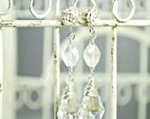 Bridal Earrings, Rose Quartz Earrings, Crystal Pendant Earrings, Swarovski Baroque, Wedding Earrings, Pale Pink Gemstones, Dangle Earrings