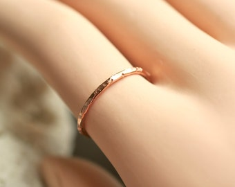 delicate Ring in 14k gold filled -  hammered ring - pick your texture - textured thin band - knuckle ring - midi ring