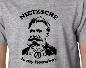 Nietzsche Is My Homeboy t-shirt // Philosophy Geek Funny Quote Plato Freud Marx