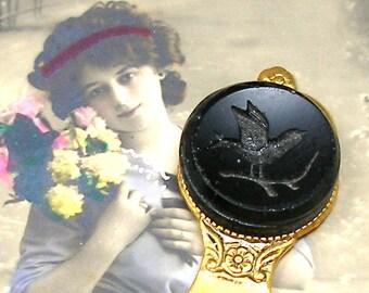 BIRD Antique BUTTON bookmark, Victorian black glass in gold.