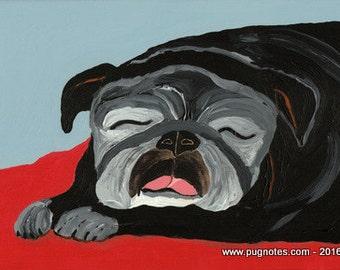 10 Pug Note Cards -  Sweet Dreams - Sleeping Black Pug