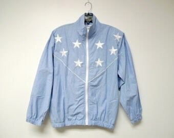 La Costa . white stars blue light jacket . loose fit . medium . made in USA