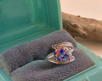 Sterling Silver Filigree Ring  with Art Glass Stone Size 7 Adjustale  (2.3g)