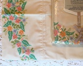 Full Set Wamsutta Supercale Plus - Luxurious Percale - Full Size Flat Pillowcase Set - Floral on Cream - Eyelet Lace Detail - New in Package