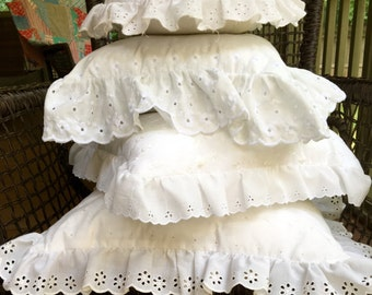 White Eyelet Pillow Set with Ruffles - Shabby Chic - Cottage Style - 4 Eyelet Pillows - Lot of Pillows - Square Pillows - Round Pillow