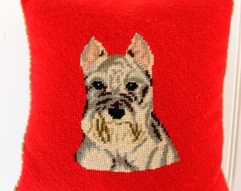 Vintage Needlepoint Pillow - Schnauzer Pillow - Red Tan Dog Pillow