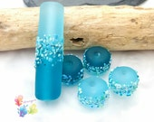 Lampwork Beads Saltwater Blue Blossoms