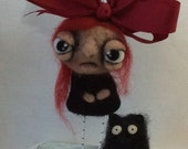 Kennedy and her kitty Ooak hand needle felted artdoll