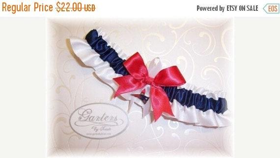 SALE 10% OFF Handmade Wedding Garter with New England Patriots charm Toss Satin W-Nrw
