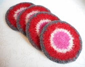 Felted, Wool,  Coasters, Valentines Day, Round, Set of 4, Crocheted, Handmade, Red, Pink