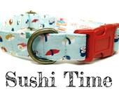 """Sushi Dog Collar - Japanese Dog Collar - Summer Dog Collar - Food Dog Collar - Antique Brass Hardware - """"Sushi Time"""""""