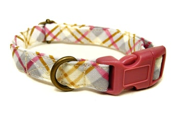 Raspberry Plaid - Gray Yellow Dark Pink Girly Plaid Rustic Country Organic Cotton CAT Collar Breakaway Safety - All Antique Brass Hardware