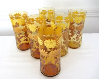 Vintage Glass Tumblers, Glasses. Set Of Six. Promotional Gift Glasses