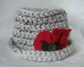 Black and White Red Flower Crochet Hat Womens Hat
