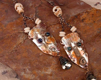 TRIBAL DEATH MASKS - Primitive Copper Mask Earrings With Hand Carved Bone Skull Beads, Chocolate Pyrite Faceted Briolettes