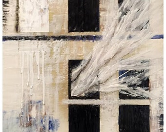 Fragments, Encaustic Abstract Painting on Birch Wood Panel