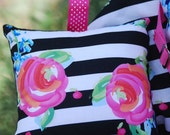 Shopping Cart Cover - Boutique Shopping Cart Cover for Baby Girl  -Roses on stripes