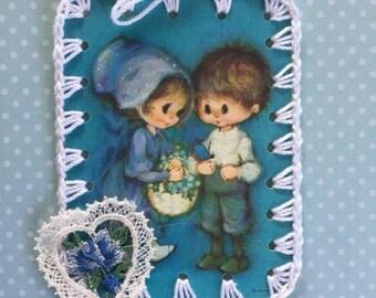 Sweet Couple / Crochet Vintage Hallmark Bookplate Ornament / Tag