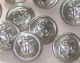 """set 12 ANCHOR Naval style 2-piece hollow SILVER Metal vtg new buttons 19mm 3/4"""""""