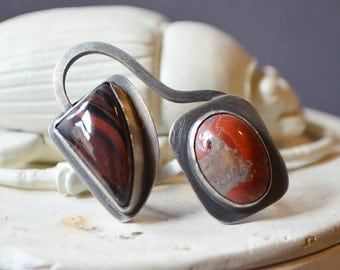 Earth Linked Ring Made With Tiger Eye And Jasper