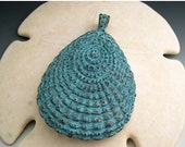 BIG SALE 63mm Large Stylized Shell Pendant - Mykonos Greek Copper Antiqued Green Turquoise Naos