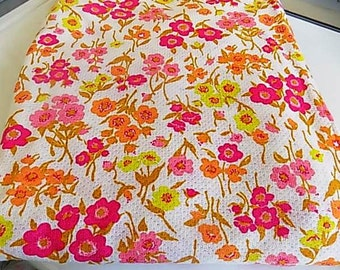 Vintage Cotton Floral Flower Fabric Pink Orange Fuchsia Yellow Yardage Large Lot