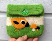 Felted pouch apple green white wool bag cozy hand knit needle felted yellow birdie mushrooms